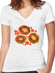 Atomic Kiwis - Red Women's Fitted V-Neck T-Shirt
