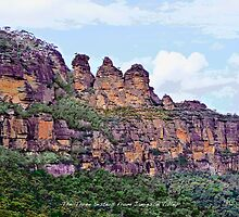 The Three Sisters viewed from Jamieson Valley. by Trevor  Tanner