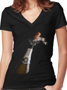 Celebration Theme With Splashing Champagne Women's Fitted V-Neck T-Shirt