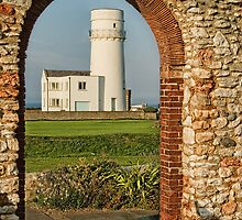 St Edmund's Chapel and Old Hunstanton Lighthouse by John Edwards
