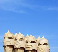 Chimneys on Terrace Roof of Casa Mila (La Pedrera), Barcelona  by Petr Svarc