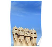 Chimneys on Terrace Roof of Casa Mila (La Pedrera), Barcelona  Poster