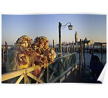 Two People in Carnival Masks, Venice (Italy)  Poster