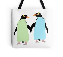 Blue Penguins Holding hands Tote Bag