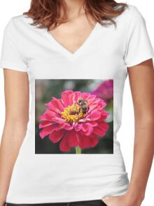 Bee Feeding On A Flower Women's Fitted V-Neck T-Shirt
