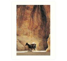 Cart in Siq, Petra, Jordan Art Print
