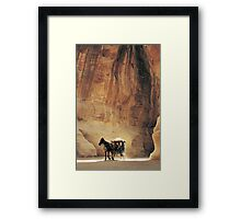 Cart in Siq, Petra, Jordan Framed Print