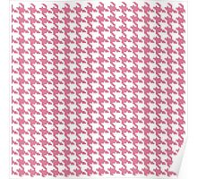 Retro girly pink white houndstooth pattern Poster