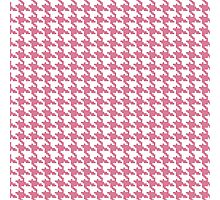Retro girly pink white houndstooth pattern Photographic Print