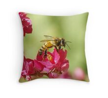 Profile of a Bumble bee sitting on a Red Bud flower Throw Pillow