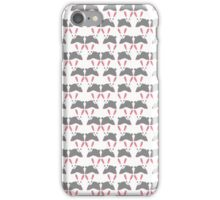 Cute pink and gray bunny rabbit pattern iPhone Case/Skin
