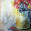 Vase with flowers, Acrylic painting by Esperanza Gallego