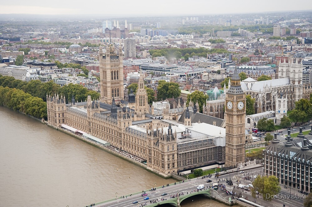 Ariel View of Westminster and Big Ben by DonDavisUK