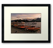 Derwent Water Boats in the evening light Framed Print