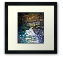 The boat on the river Framed Print