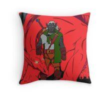 Dark Elf & Red Dragon Throw Pillow
