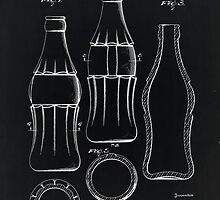 Coca Cola Bottle Vintage Patent On Black by Eti Reid