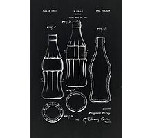 Coca Cola Bottle Vintage Patent On Black Photographic Print