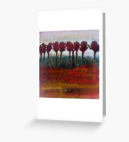 Fall Evening in the Forest, mixed media on canvas Greeting Card