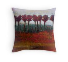 Fall Evening in the Forest, mixed media on canvas Throw Pillow