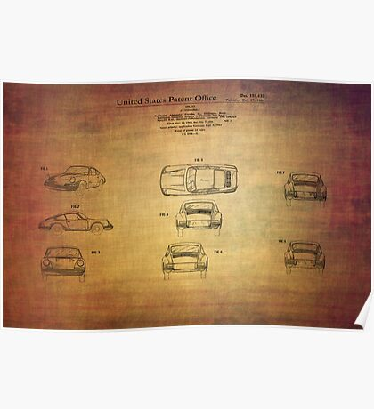 Ferdinand Porshe Patent For Carrera 911 From 1964 Poster