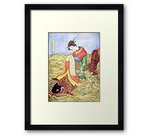 Geisha Rides Koi Through The Waves Framed Print