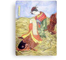 Geisha Rides Koi Through The Waves Canvas Print