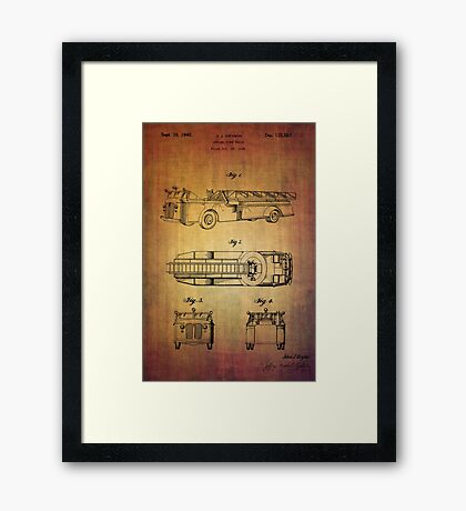 Grybos Vintage Fire Truck Patent From 1940 Framed Print