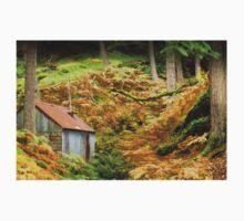Rusty Woodland Hut (3) ~ Bala, Snowdonia One Piece - Long Sleeve