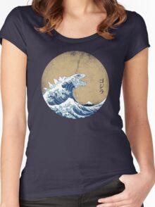 Hokusai Kaiju - Vintage Version Women's Fitted Scoop T-Shirt