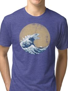 Hokusai Kaiju - Vintage Version Tri-blend T-Shirt