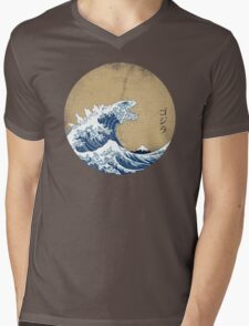 Hokusai Kaiju - Vintage Version Mens V-Neck T-Shirt