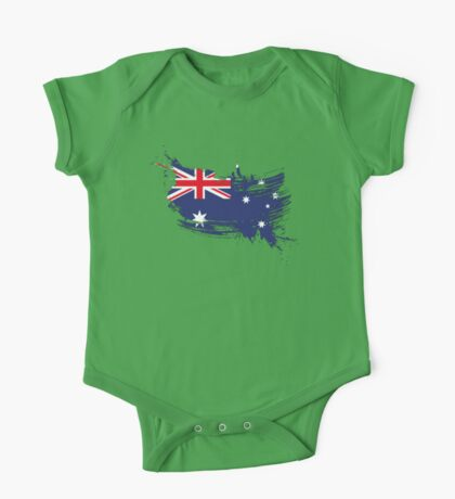 Australia Flag Brush Splatter One Piece - Short Sleeve