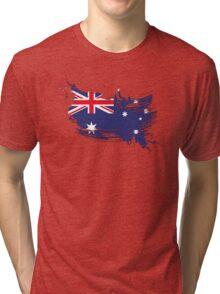 Australia Flag Brush Splatter Tri-blend T-Shirt