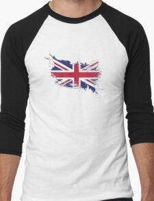 United Kingdom Flag Brush Splatter Men's Baseball ¾ T-Shirt