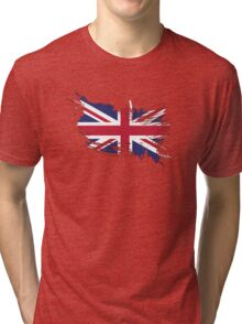 United Kingdom Flag Brush Splatter Tri-blend T-Shirt