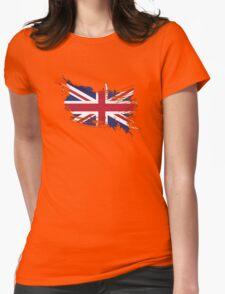 United Kingdom Flag Brush Splatter Womens Fitted T-Shirt