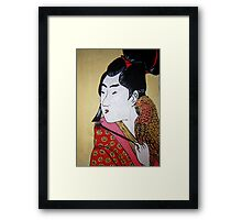 Japanese Man with Falcon Framed Print