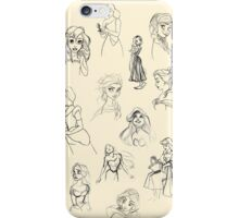 Sketched Princesses iPhone Case/Skin
