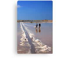 The salt workers - Lagoon of Messolonghi Canvas Print