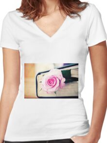 This World Of Loneliness Women's Fitted V-Neck T-Shirt