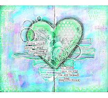 Neon Green Heart Photographic Print