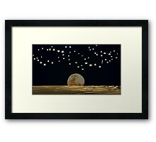 The Moon and Stars in a Night Sky with Cool Water Framed Print