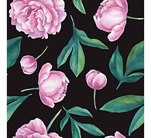 Seamless watercolor peony pattern   Photographic Print
