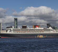 Queen Mary 2 and Dazzle Ferry by Paul Madden