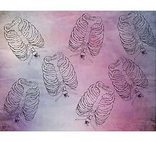Skeleton Rib Cage On Acid Wash Background Photographic Print