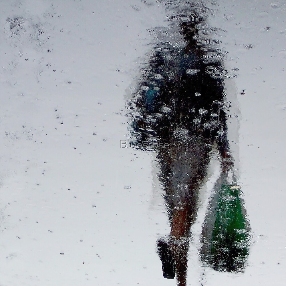 Woman in the  rain by Bluesrose