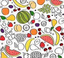 Doodle cartoon pattern of summer fruits by epine