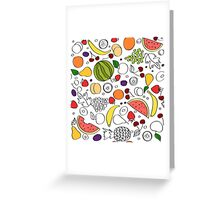 Doodle cartoon pattern of summer fruits Greeting Card