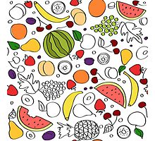 Doodle cartoon pattern of summer fruits Photographic Print